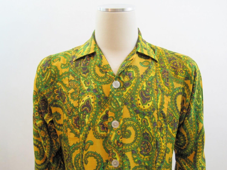 60s Shirt Vintage Mens Psychedelic Paisley Rayon Shirt Jacket