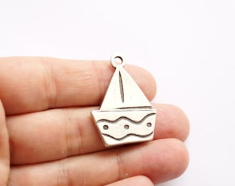 1pc- Matte Silver Plated  Sailing Charm-38x25mm (416-004SP)
