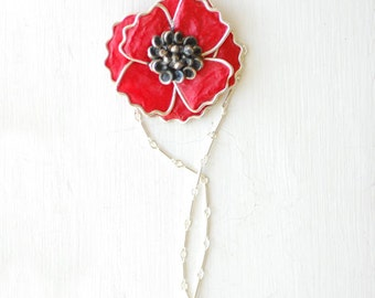 Red Poppy Necklace, Silver Flower Jewelry, Remembrance Day Jewelry, Bold Paper Pendant