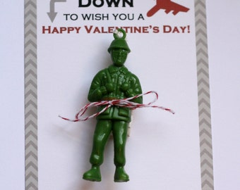 Boy Personalized Paratrooper Valentine Card- Dropping Down to Wish you a Happy Valentine's Day-DIY Printable