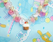 Tea Party Cupcake Necklace - pink, white and green button charm necklace with cupcake pendant