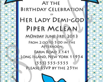 Demi-god/Percy Jackson Inspire/Greek God/ Half-Blood Theme Birthday Invitation- Flower Blue Child of Aphrodite Demi-god Boy or Girl- Digital