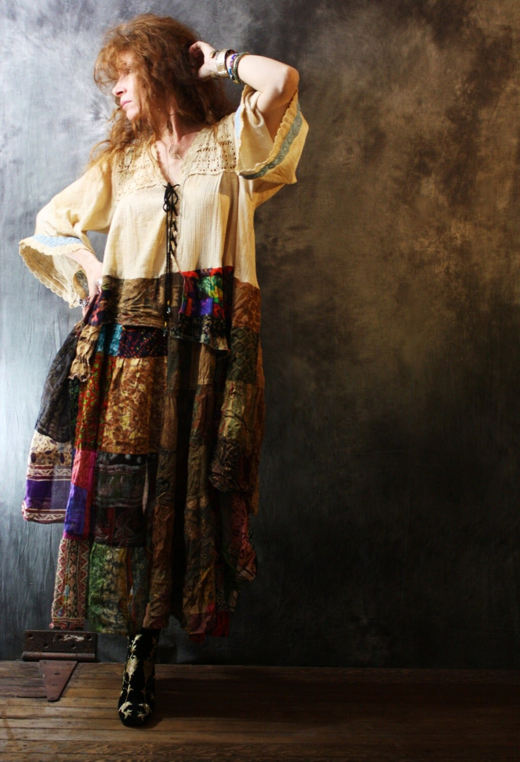 vintage 1970s 1980s hippie gypsy patchwork dress bell sleeves
