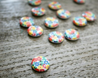 vintage 70s Groovy Flower Power Floral Rainbow Buttons- Set of 10