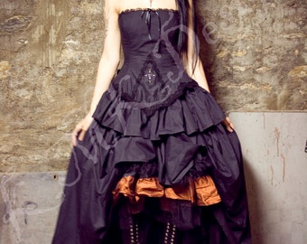 Steampunk Alternative Wedding Dress - Black Kirsten - Gothic Vampire Black Bridal Gown Cotton- Custom to Order