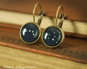 Small Custom Constellation Earrings on Brass Leverback Earring Hooks, Personalized, Stars, Zodiac, Birthday, Astronomy