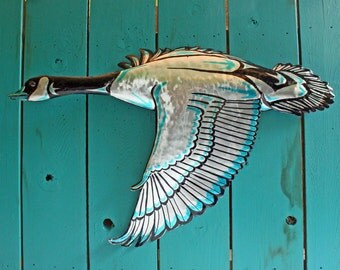 Goose Spirit - life-sized aluminum waterfowl sculpture - Pacific Northwest Coast Indian-inspired - OOAK
