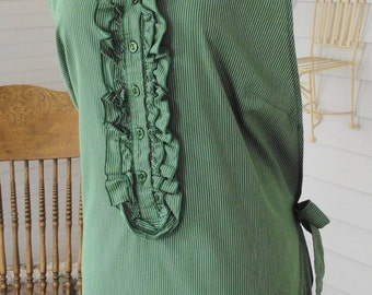 Full Apron / Green and White Stripes With Ruffles