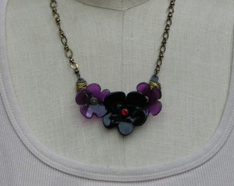 Purple Flower Necklace Black  Floral Red Rhinestone Jewelry Wire Wrapped Mixed Media Jewelry