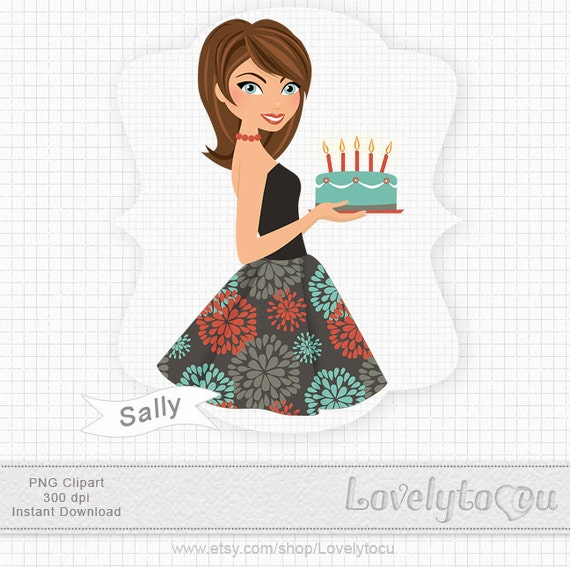 Woman Birthday Clipart Party Retro Glamour Digital By