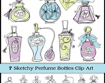 Perfume Bottle Doodles. Instant Download. Digital Clipart, Brushes & Stamps. Personal and Limited Commercial.