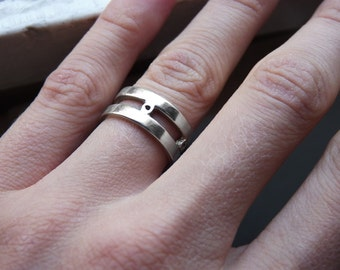 Wedding band made of sterling silver, Double band, Strips ring, Unisex, simple, made to order, Handmade engagement rings