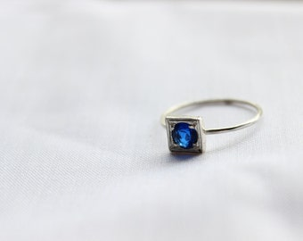 Lab Blue Sapphire ring, Little Stacking ring, Round Stone Shape, Sterling silver Custom Ring , September Birthstone,  Promise Ring