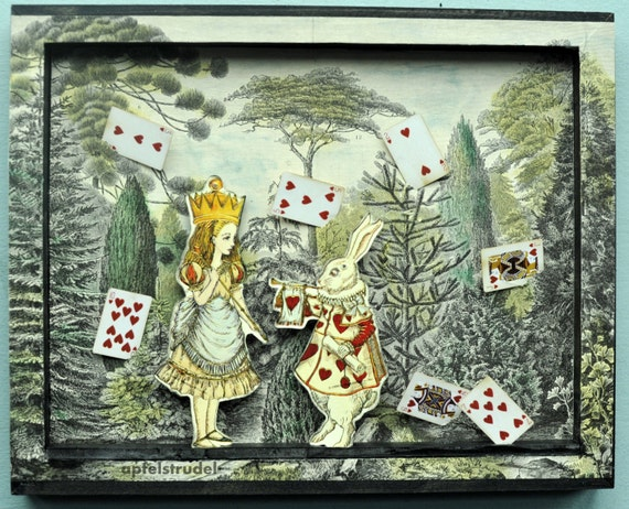 3d Alice In Wonderland Tableau Collage Art Recycled