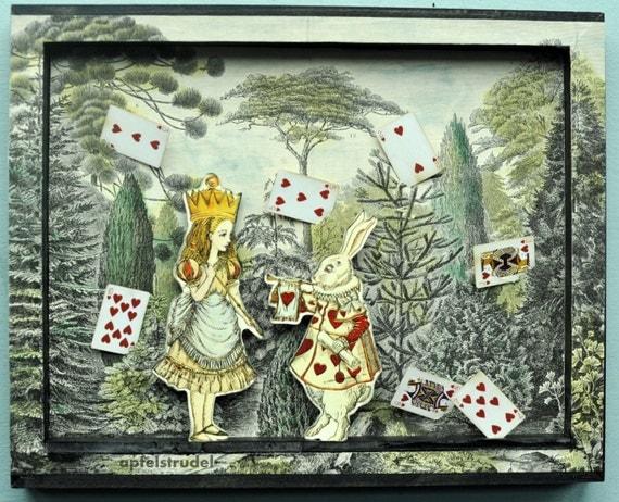 3d alice in wonderland tableau collage art recycled. Black Bedroom Furniture Sets. Home Design Ideas