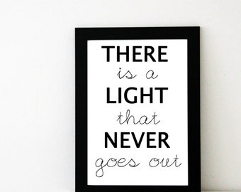 The Smiths Poster // There is a Light That Never Goes Out // The Smiths Lyrics // The Smiths Art // The Smiths Print // Music Print // Gift