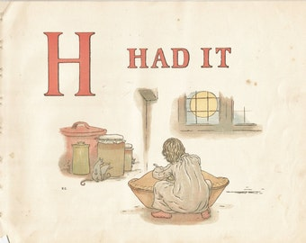 H - Vintage Children's Book Plate, Art Print - H Had It - Alphabet Book Plate, Print - A Apple Pie - Kate Greenaway - 1886