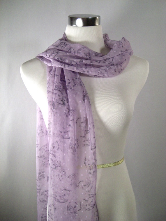 Easter - Mother's Day Lavender Long Scarf  - Lavender Purple Butterfly Scarf - Lavender Soft Chiffon Scarf - Dressy Scarf