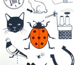 Art Screen Print Lucky Things Limited Edition Typography Orange Red Good Luck