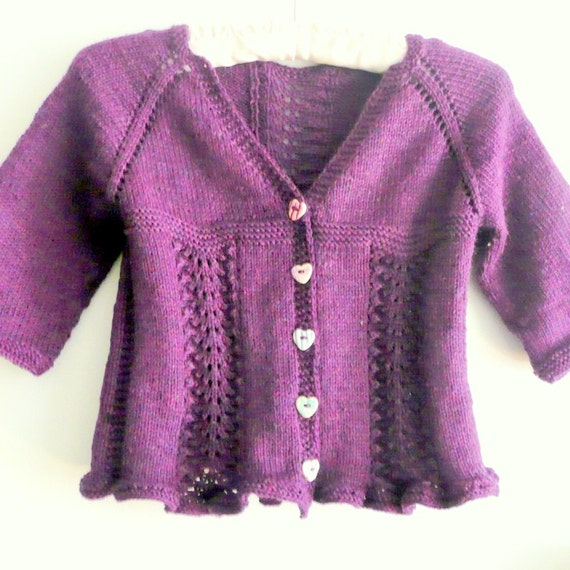Knitting Sweaters From The Top Down : Knitting pattern seamless top down baby girl cardigan by