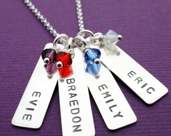 Grandmother Birthstone Necklace - Personalized Necklace w/ Four Children's Names and Birthstones in Sterling Silver