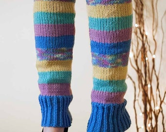 Knit Leg Warmers Knit Boot Socks lAdult Legwarmers Womens Striped Leg Warmers Knee High Leg Warmers Blue Yellow Lavender Turquoise