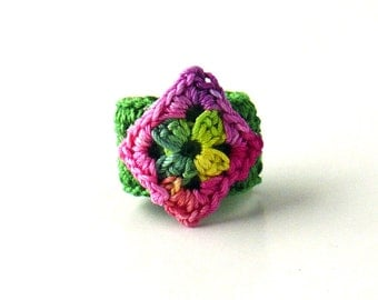 Crochet Ring Fiber Ring  Diamond Shape Applique Green Yellow Fucshia Rose On An Emerald Green Band