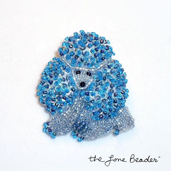 Tiny Blue & Gray Beaded MINIATURE POODLE dog art pin/ pendant (Ready to ship)