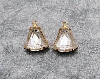15x12.5 Clear Crystal vintage bell shaped rhinestones - prong set in brass with one ring - 2pc