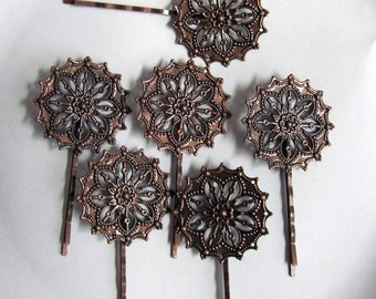 6 Bronze Filigree Hair Pins