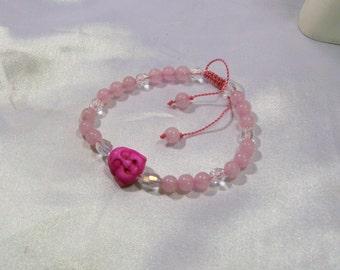 Buddha Bracelet Happy Buddha Bracelet Yoga Mala Japa Pink New Jade Crystals  Bracelet  Adjustable Or Elastic Stretchy Now Available