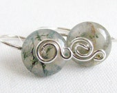Moss Agate Sterling Silver Wire Wrapped Earrings Nature Inspired
