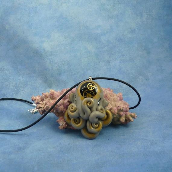 Steampunk Octopus Necklace, Clockwork Cephalopod Jewelry