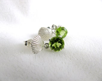 Peridot Post Sterling Silver Sea Shell Earrings RKS325