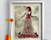 Print Princess Cinderella  Birthday Gift Art Portrait Illustration fairy tale poster wall decor Fantasy cotton canvas giclee