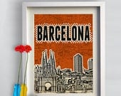 Print Barcelona  typography Spain Print  Birthday Gift art Poster Cityscape Barcelona Skyline canvas giclee