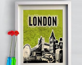 Print Canvas London Poster print Cityscape  Birthday Gift art work canvas Handmade Wall Decor typography print giclee