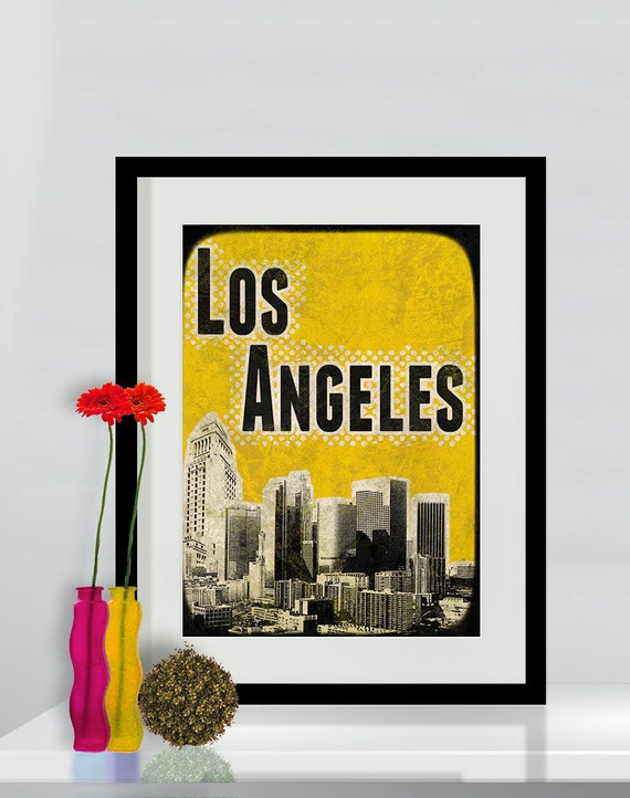 Print Los Angeles Poster  Birthday Gift art print Cityscape city skyline print Los Angeles map canvas Wall Decor typography print
