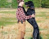 """Nose2Nose, CUSTOM Pet Portrait Paintings, Great Dane, 44x32"""" (pet&person)"""