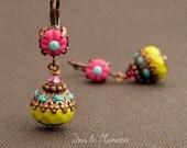Dangle earrings in hot pink and lime green -Méli 002- Earring polymer clay, colorful earring, beaded earring