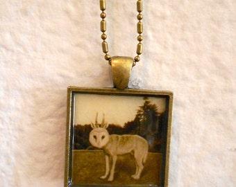Art Pendant Necklace, WolfOwl Creature, Antique brass chain ,