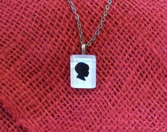 Rectangular Custom Silhouette Necklace of your child Gift for Mom