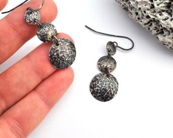 Hammered Earrings, Silver Earrings, Oxidized Silver Jewelry, Sterling Silver Geometric Jewelry, Long Earrings, Rustic Jewelry, Sale