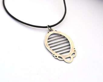 Unusual Sterling Silver Necklace, Oxidized Sterling Silver on Leather Cord, Metalsmith Jewelry, Frame Pendant with Horizontal Stripes