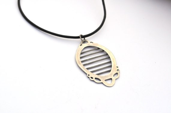 Unusual Necklace, Sterling Silver Necklace, handmade necklace, statement jewelry, Horizontal Stripes, Leather Cord, Oxidized Silver Necklace