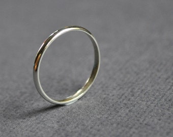 Wedding Band. 2mm. Women's Ring. High Shine. Gloss. Sterling Silver. Jewellery. Jewelry. Handmade.