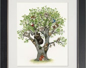 Animal Tree - archival watercolor print by Tracy Lizotte
