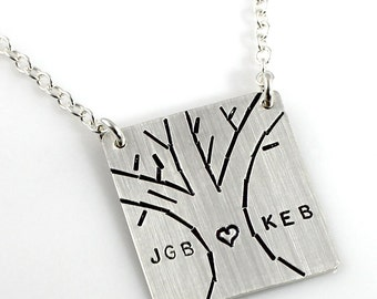 Personalized hand stamped Love Tree Top Hang Necklace in sterling silver