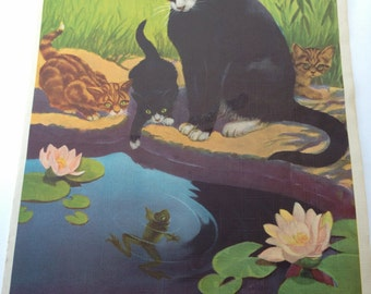 """Jack Murray 1940s Cats and Kittens Print 10-1/4"""" x 14"""""""