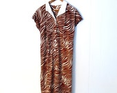 Zebra Print Dress / 1960s Shift Dress / 60s Mod Dress / L XL